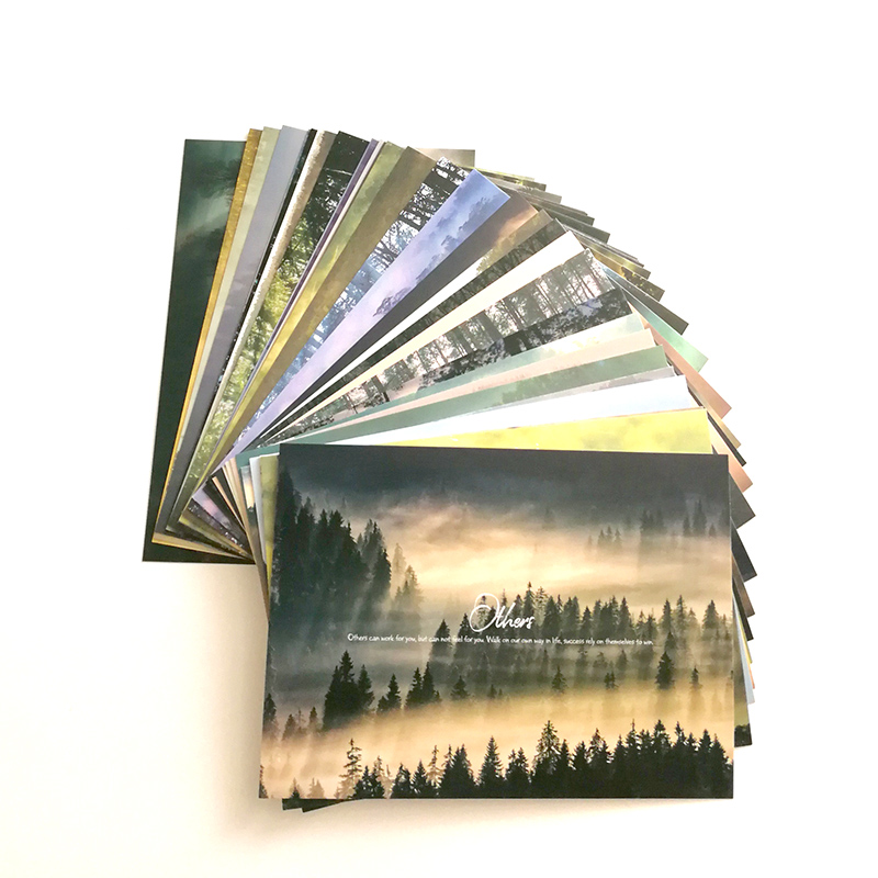 30Pcs/set Foggy Forest With Classic English Phrase Selection Gift Cards Landscape Of Forest Photography Postcards