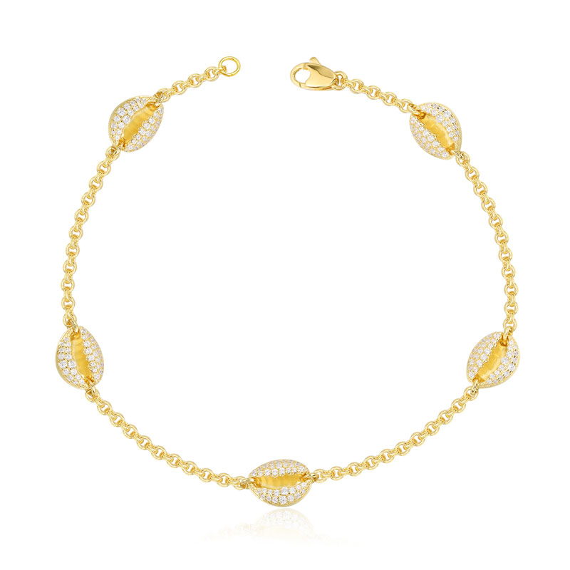 SLJEY Top Quality 925 Sterling Silver Zirconia Stone Yellow Gold Color Conch Seashell Anklet Women Monaco