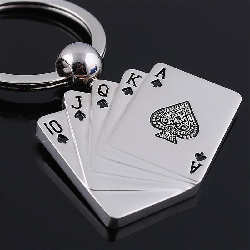 Poker Card Hanging Zinc Alloy Plating Silver Round Circle Connected Keychain Key Chains Fashion Jewelry For Men Key Holder