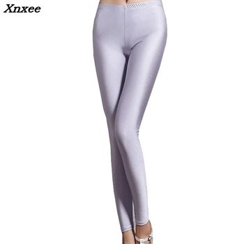 Spandex leggings one size black white women colors shiny lycra neon high waist stretch skinny Xnxee