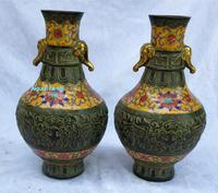 Just collected and arrived!! Only 1 Pair!! Art Collectible Chinese Old Cloisonne Bronze Carved Vase /Chinese Ancient Palace Vase