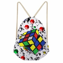 Noisydesigns 3D Tropical Rubik's cube  Printed Backpack Women Girls New Drawstring Bag Casual Travel Storage Bags Mochila Sac