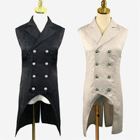 Men's Gothic Steampunk Vest Double Breasted Sleeve Jacquard Tailcoat Medieval Victorian Cosplay Dress Vest Stage Costume