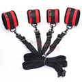 Smspade fetish red velvet soft bondage underbed restraints kit handcuffs, ankle cuffs, fabric belt sex restraints set sex toys