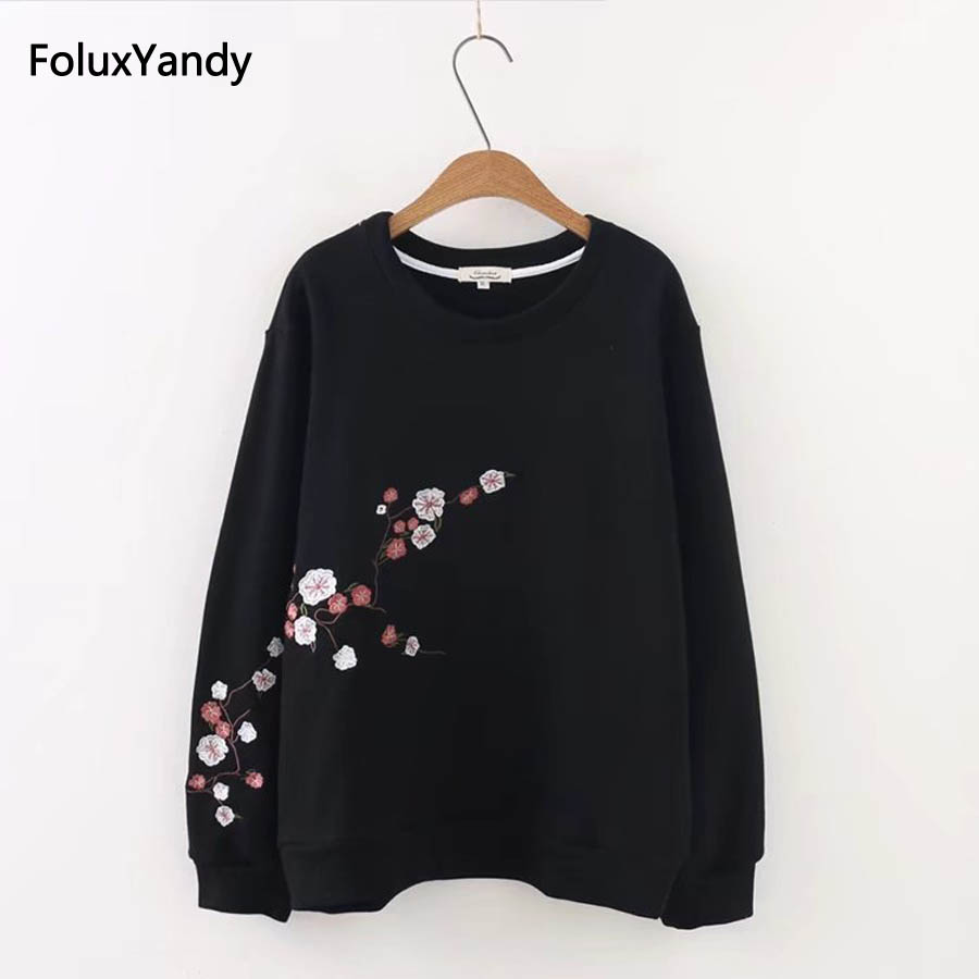 PLUSONLY_LC Store 3 XL Plus Size Sweatshirts Black/White Casual Floral Embroidery Sweatshirts Pullovers KKFY362