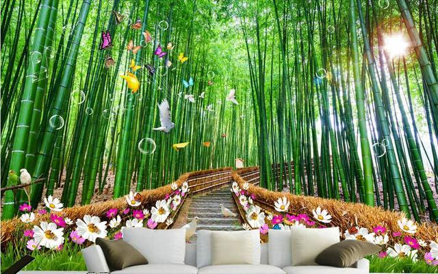 3d Room Wallpaper Custom Mural Non Woven Wall Sticker 3 D Scenery Bamboo  Forest Path Part 56