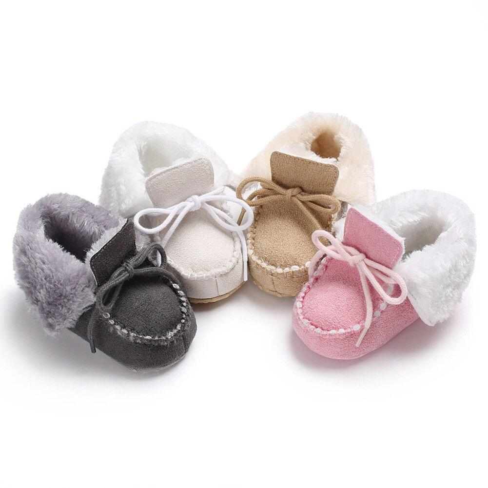 0-18 Mt Neugeborenen Baby Weiche Sohle Krippe Schuhe Winter Warme Jungen Kinder Lace-up Plüsch Stiefeletten Schöne Dicke Kind Turnschuhe Heißer Verkauf