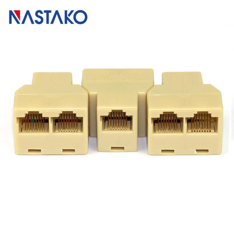 NASTAKO 5pcs/Pack CAT5 Cat5e RJ45 Splitter Connector LAN Cat5 Ethernet Cable Splitter Adapter 8Pin RJ45 Network modular Plugs 1set usb ethernet rj45 to 4 usb 2 0 adapter extender lan network cat5 cat5e cat6 extension cable fw1s