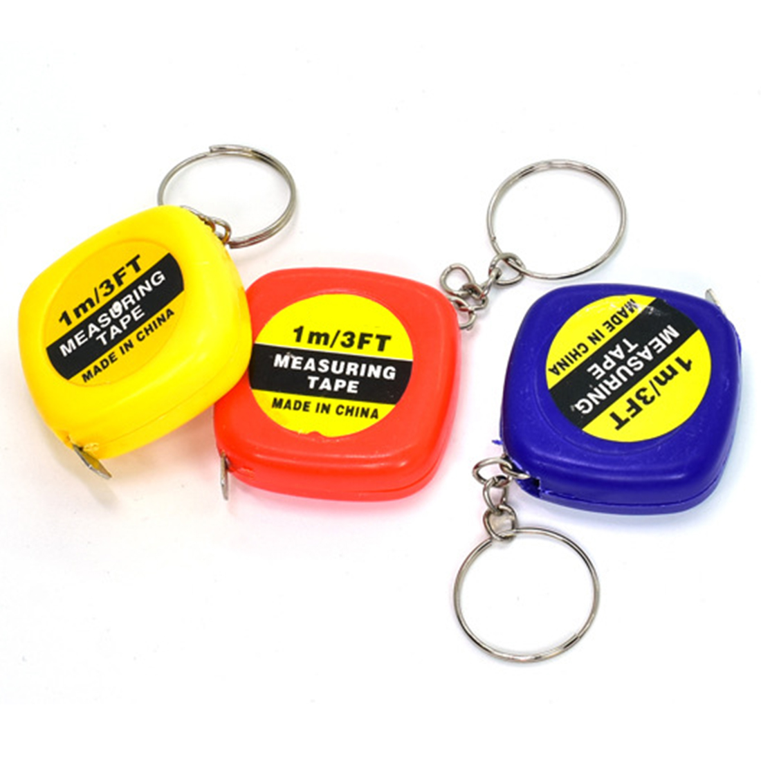 TOP 1pc 1m/3ft Easy Retractable Ruler Tape Measure Mini Portable Pull Ruler Keychain Color Random random color hook 1pc