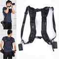 Double Shoulder Black Sling Rapid Adjustment Strap Quick Shooting For 2 Camera Digital SLR DSLR Camcorder  Caden Double straps