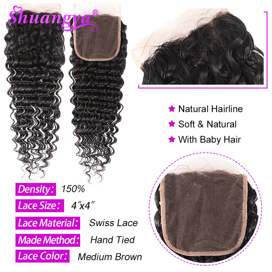 Shuangya Hair Peruvian Hair Bundles With Closure 100 Human Hair Bundles With Closure Remy Hair Deep Wave Bundles With Closure in 3 4 Bundles with Closure from Hair Extensions Wigs