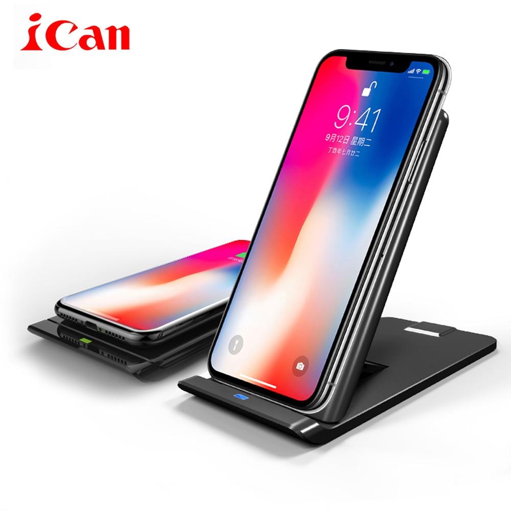 ICan Qi Caricatore Senza Fili Per iPhone 8/8 Plus/X QC3.0 10 W Veloce Senza Fili Pieghevole di Ricarica per Samsung S9/S8 S8 +/S7Edge Caricatore Pad