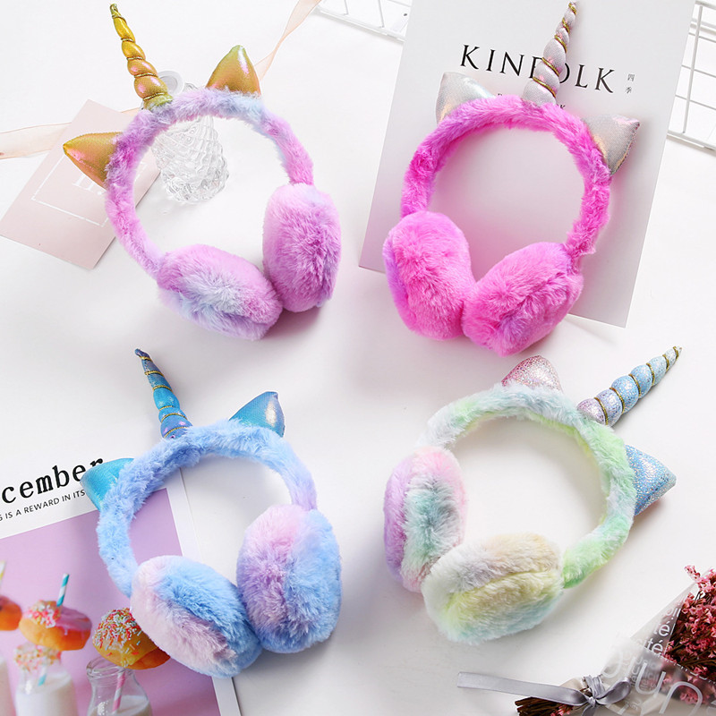 Ear-Muffs Unicorn Winter Kids Children New Plush Fashion Thicken Solid-Color High-Quality