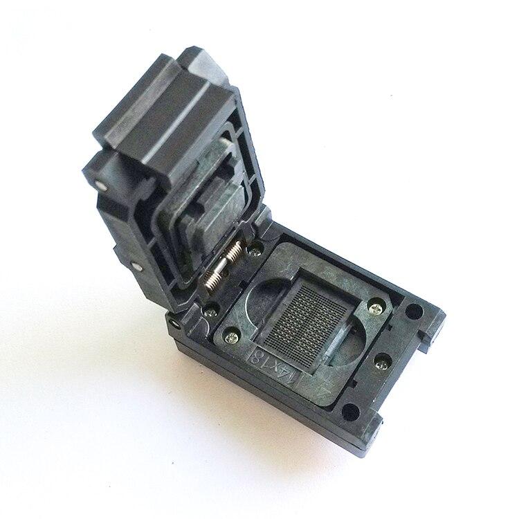 BGA 152/132/88 flip éclats test brûler scoket SSD lecteur à état solide programmeur adaptateur 1.0mm pitch IC taille: 12*18 14*18
