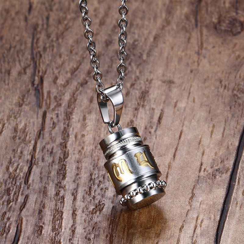 Mens necklaces stainless steel tibet prayer wheel pendant necklace mens necklaces stainless steel tibet prayer wheel pendant necklace freely rotate smoothly exquisite carved prayer mantra choker in pendant necklaces from mozeypictures Gallery