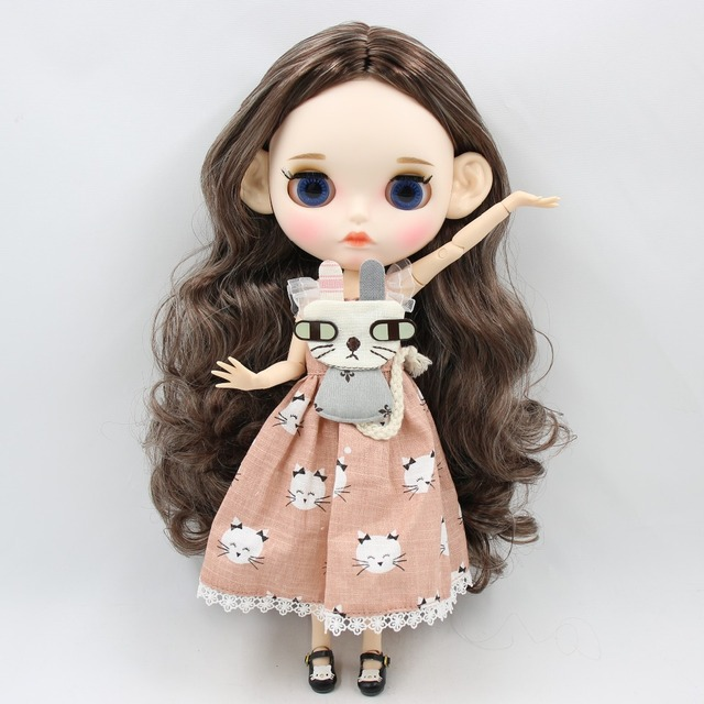 ICY Neo Blythe Doll Silver Brown Hair Jointed Body 30cm