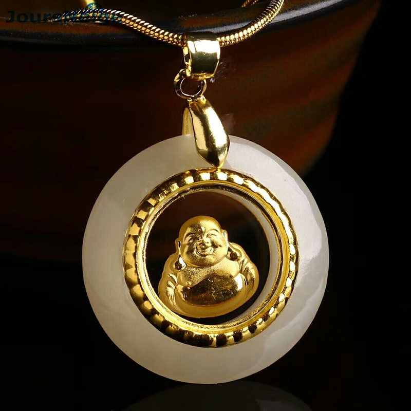 Wholesale Natural Stone Pendants Plate Gold Laughing Buddha Pendant free rope Necklace for Women Men Fashion Jewelry JoursNeige