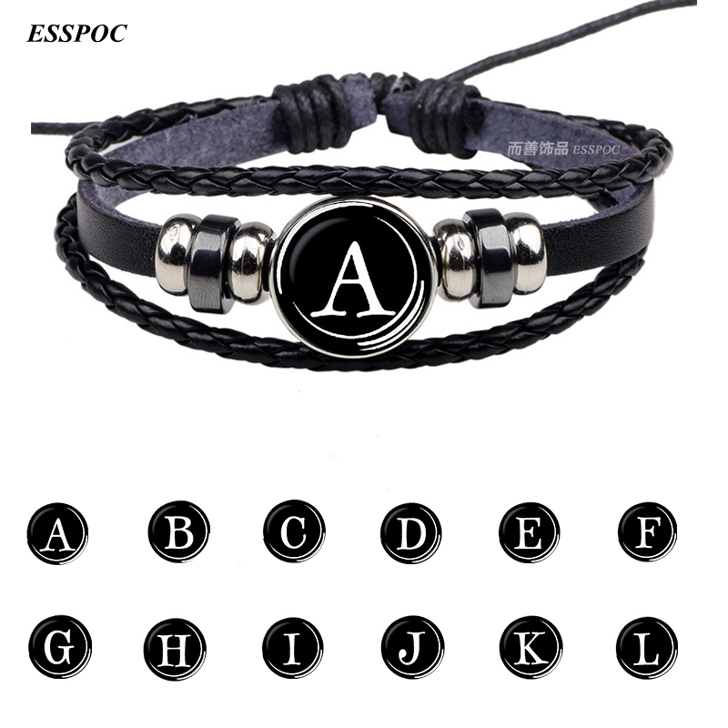 26 Letters Bracelet Personality Team Name Rope Bracelet Black Leather Bracelet Button Bangle Men Women Fashion Birthday Gifts image