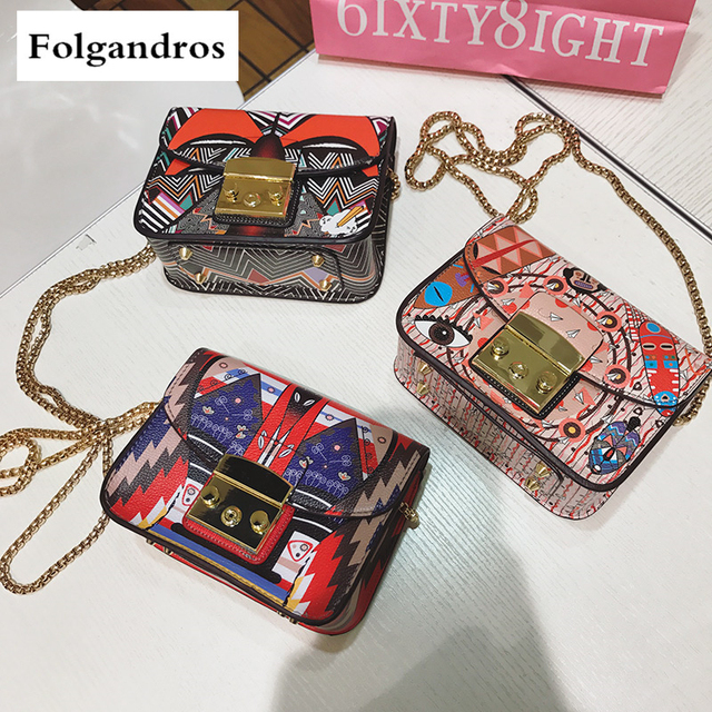 2018 Italian Brand Handbags Women Clutch Luxury Graffiti Print Bag Female Messenger Lady Chain Lock