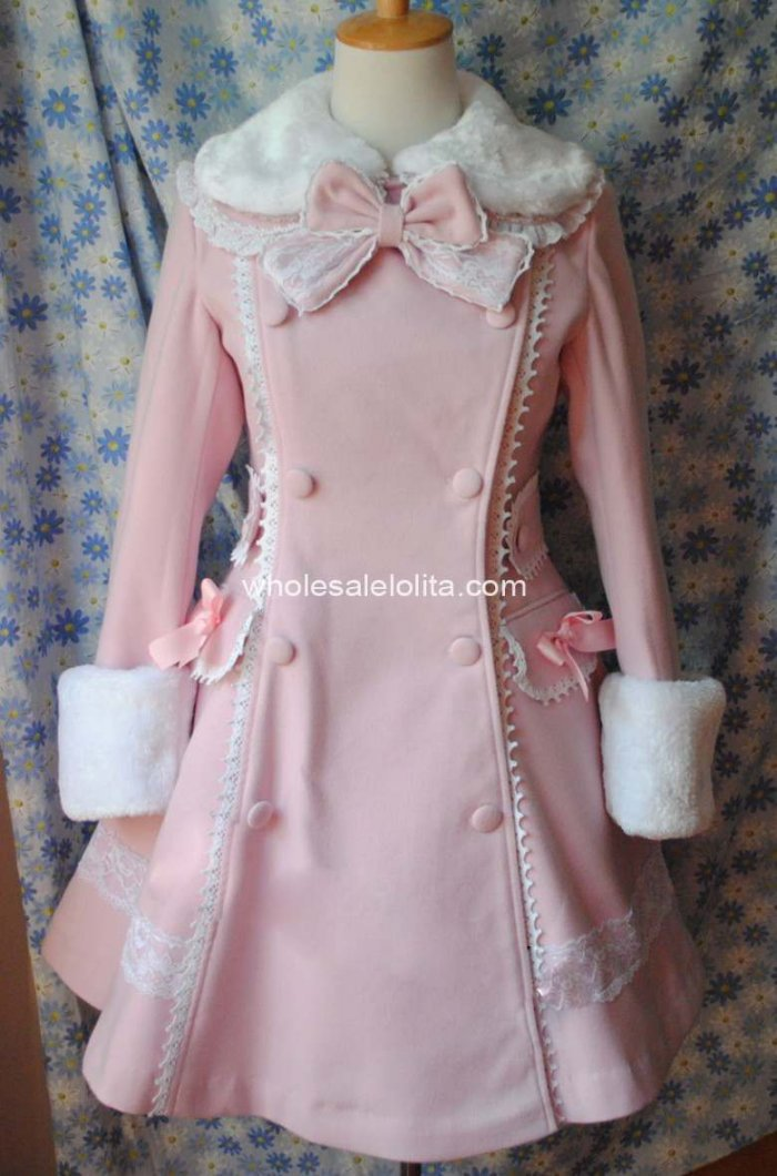 Настраиваемые Великолепный розовый Зимняя шерстяная одежда теплые пальто Лолита пальто готическая лолита шерсть 4XL 5XL 6 xlcoat
