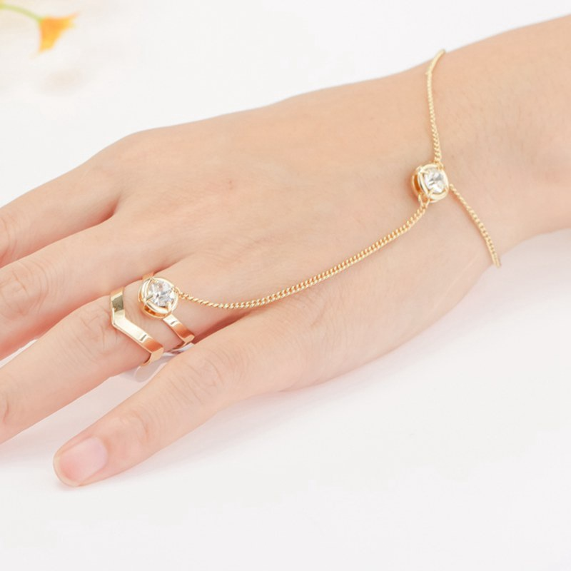 Wholesale Gift Women Fashion Bracelet Crystal Gold color Chain