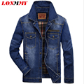 LONMMY M-3XL Denim jacket men Cotton Military style jeans jacket men coat Army Multi-pocket New 2016 Mens jackets and coats