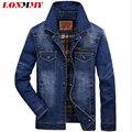 LONMMY M-3XL homens jaqueta Jeans de Algodão jaqueta jeans estilo Militar homens Do Exército casaco Multi-bolso Novo 2016 Mens jaquetas e casacos