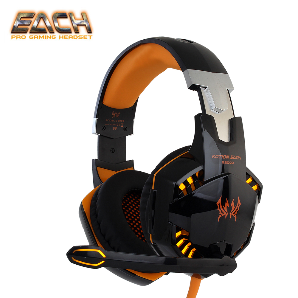 KOTION EACH stereo gamer gaming headset for pc headphone for computer with microphone LED Light Deep Bass Earphones with mic kotion each headset gamer professional headphones pc gaming bass stereo noise isolation gaming headset with mic led light g1000