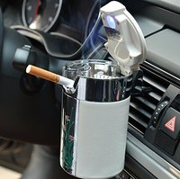 Car Cigarette Ashtray Portable Auto Smokeless Tobacco Tray With Car Travel LED Blue Light Air Vent