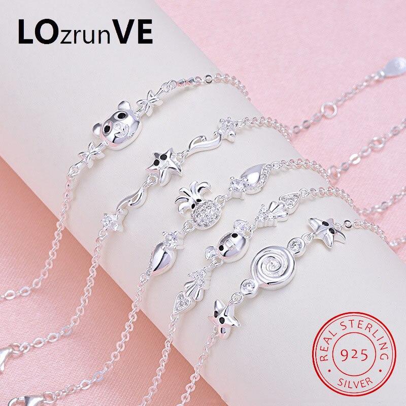 LOZRUNVE Original 2018 Brand S925 Sterling Silver Lollipop Animal Pig Bear Octopus Star Charm Bracelet Girls Children Wholesale