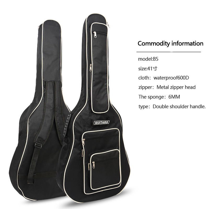 41 pulgadas bolso de la guitarra plenamente acolchado impermeable guitarra cubierta suave de la caja de música acústica clásica bolsa