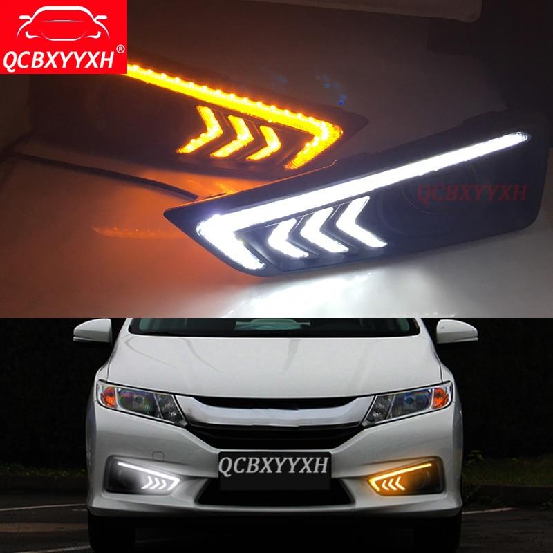 QCBXYYXH дневного света для Honda Город 2015-2017 Водонепроницаемый ABS 12V для DRL туман Лампа с желтый сигнал поворота украшения