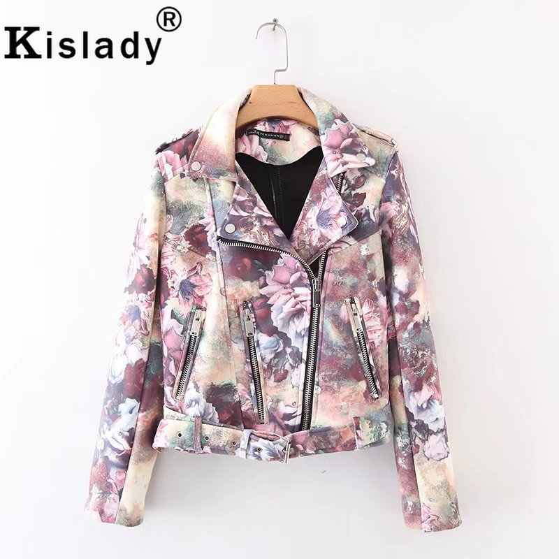 New 2019 Women's Flower Print Faux Leather Jacket Fashion Gothic PU Leather Biker Jacket Turn-down Collar with Belt Winter Coat