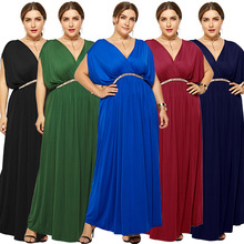 2019 hot new fashion personality large size high waist loose belt solid color folds sexy fat MM wide leg female dress autumn new middle east popular solid color loose casual hanging neck loose wide leg large size fat mm sexy ladies dress