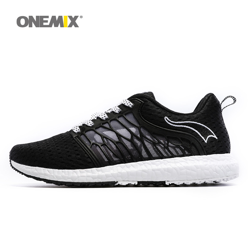 ONEMIX New Man Running Shoes For Men Breathable Athletic Trainers Black Zapatillas Sport Shoe Outdoor Walking Sneakers Free Ship new onemix breathable mesh running shoes for men women light lady trainers walking outdoor sport comfortable sneakers
