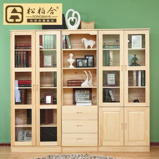 size 40 2931c 332b7 US $1003.2 |Free shipping Free combination of pine wood bookcase bookshelf  cabinet simple book for children IKEA bookcase with doors lockers-in Dining  ...