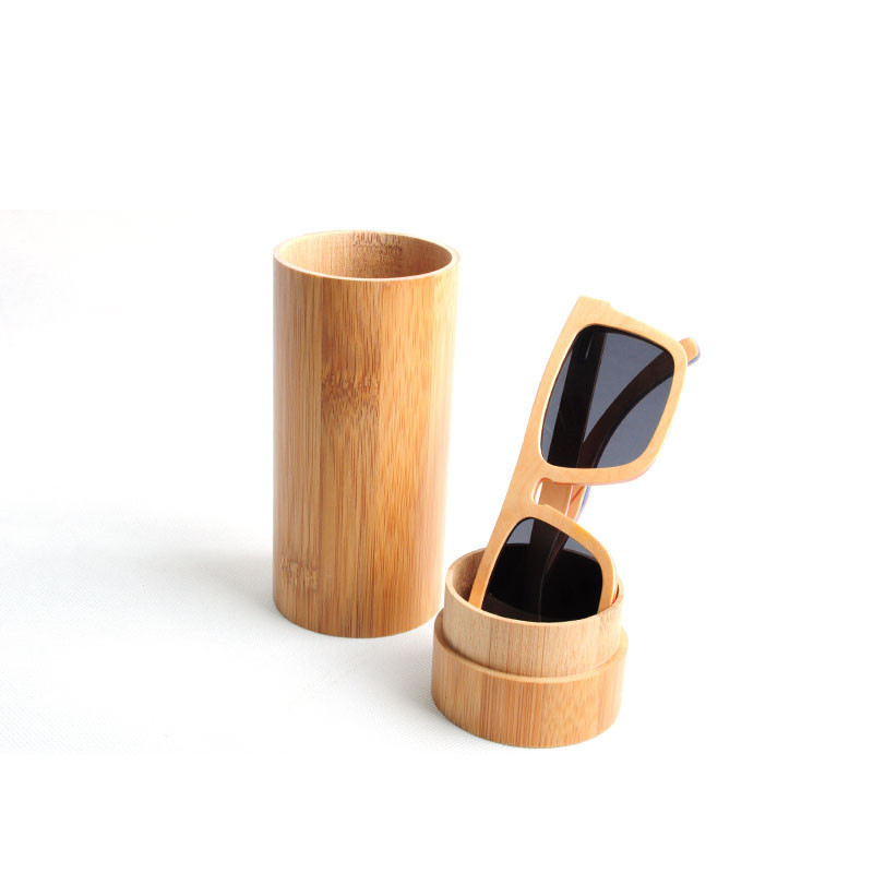 5d1a85a8f2 Fashion 100 % Handmade Spectacle Case Round Bamboo Sunglasses Case Bamboo  Glasses Box Real Wood Case For Glasses LS003.