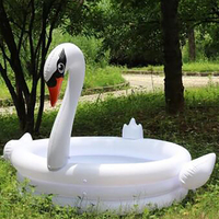 150*150*110cm Trinuclear Giant Inflatable Flamingo Swan Pool For Children Portable Outdoor Basin Bathtub Water Fun Swim Bath Toy
