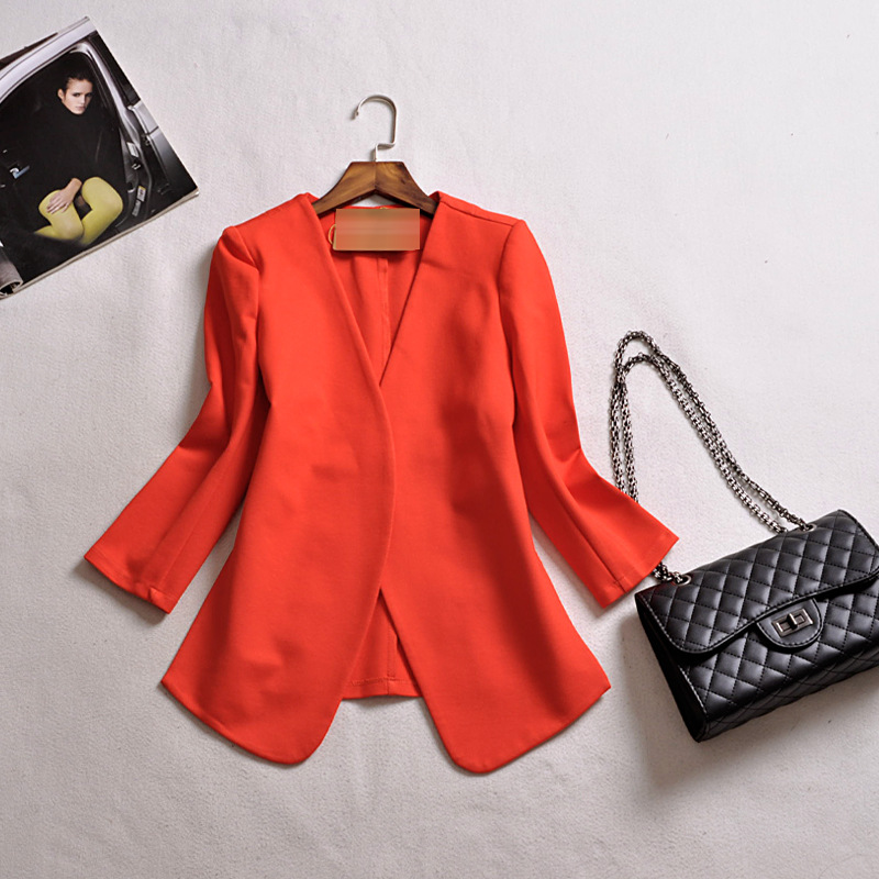 2019 Autumn New   Three Quarter Sleeve Fashion Solid Button V-neck Appliques Streetwear Women Blazers M-4xl