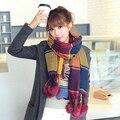 Plaid Rabbit fur ball Cashmere Brand Scarf For Women Desigual Winter Tatan Snood Blanket Poncho Magic Shawl Scarves MF489652