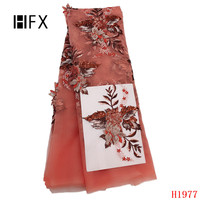 HFX French Lace Fabric 2019 Luxury Appliques Evening Dress Lace Sequin Embroidered High Quality Tulle Lace Beaded Fabrics X1977