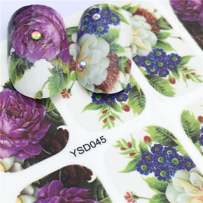YWK Nail Sticker Purple Flower Designs Water Transfer Decals Sets Flower/Feather Art Decor Beauty Tips