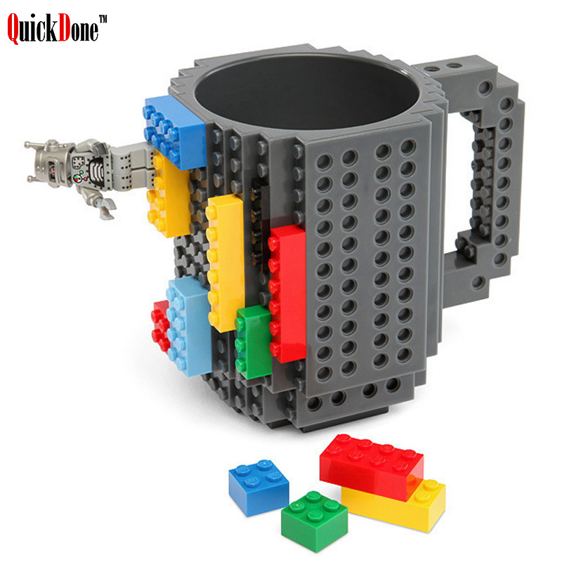 QuickDone 350Ml Build-On Brick Coffee Mug Creative Bulding Block Mugs BPA Free Water Bottle Drinkware For Birthday Gift AKC6079 ...