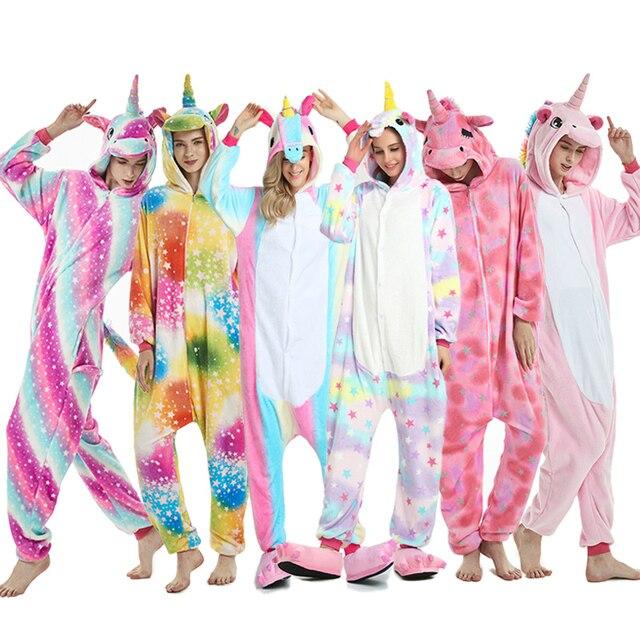 2019 חורף בעלי החיים פיג 'מה סטיץ הלבשת Unicorn פיג' מה סרבל תינוקות סטי Kigurumi נשים גברים לשני המינים למבוגרים פלנל כתונת לילה סרבל