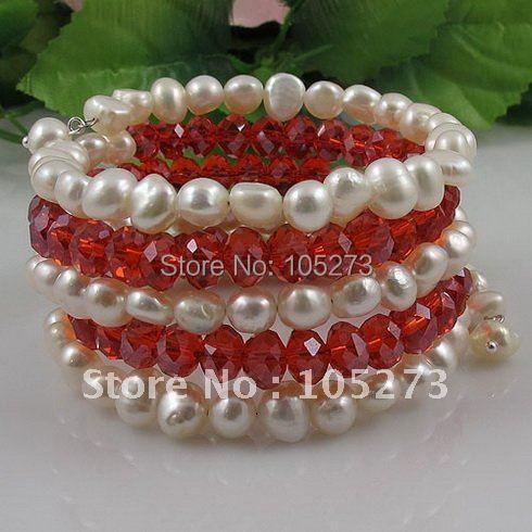 Мода жемчужный браслет AA 7-8 мм белый цвет подлинный пресноводный жемчуг барокко формирователь и Красный Кристалл 5 рядов A2589