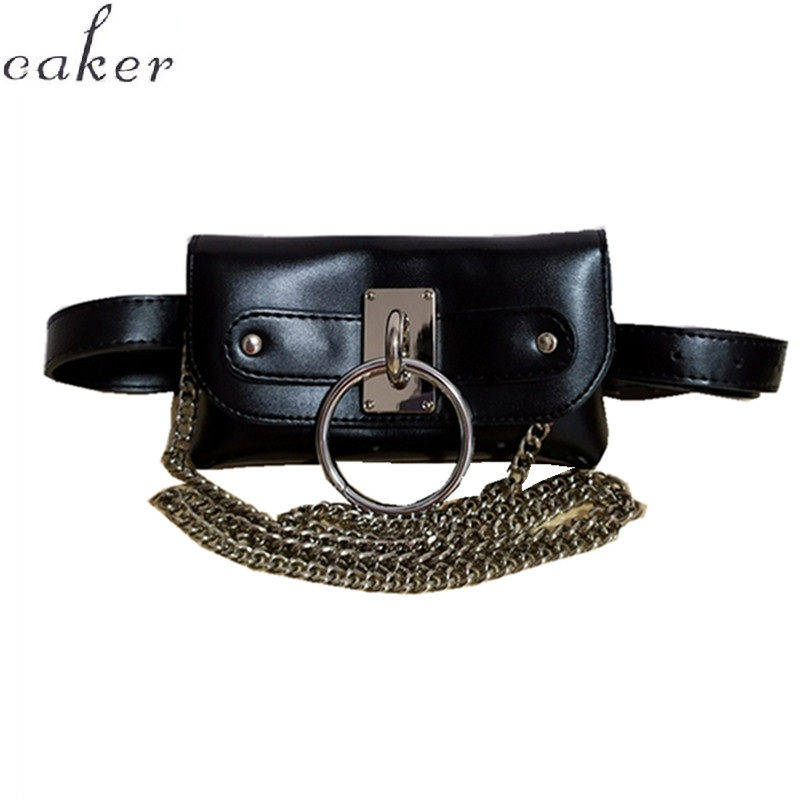 Caker Brand 2019 Women PU Leather Circle Sequins Ring Waist Bag Wholesale in Waist Packs from Luggage Bags