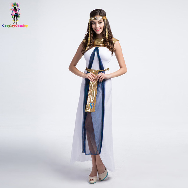 Halloween Adult Women Sexy White Egyptian Goddess Cleopatra CostumeFemale Queen Of The Nile Costumes  sc 1 st  AliExpress.com & Halloween Adult Women Sexy White Egyptian Goddess Cleopatra Costume ...
