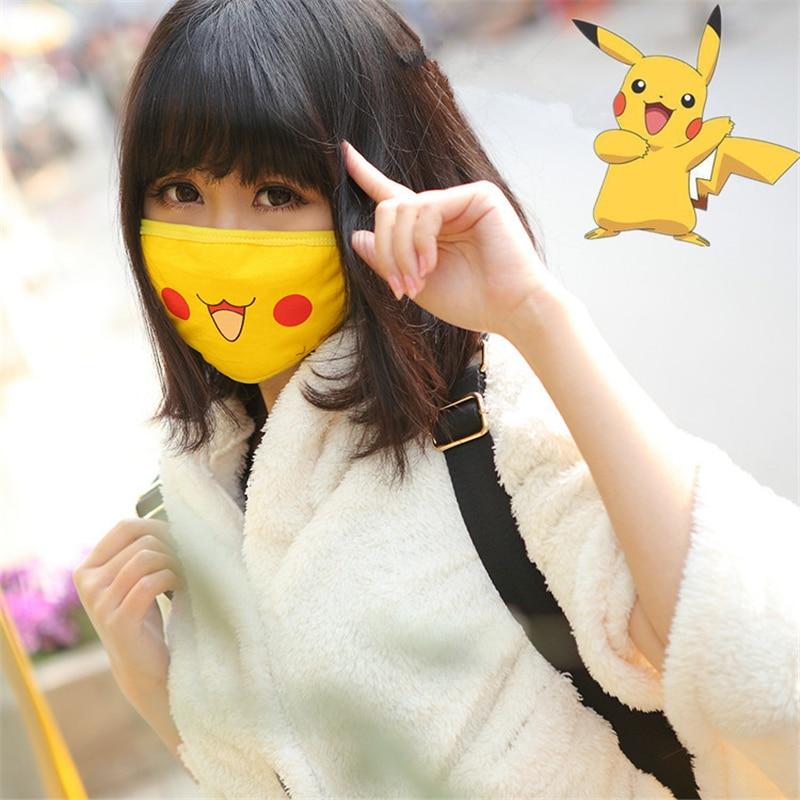 New Cartoon Pokemon Pocket Monster Pikachu Cosplay Masks Cotton Women Girls Smile Kawaii Sunscreen Outdoor Travel Sreet Mask