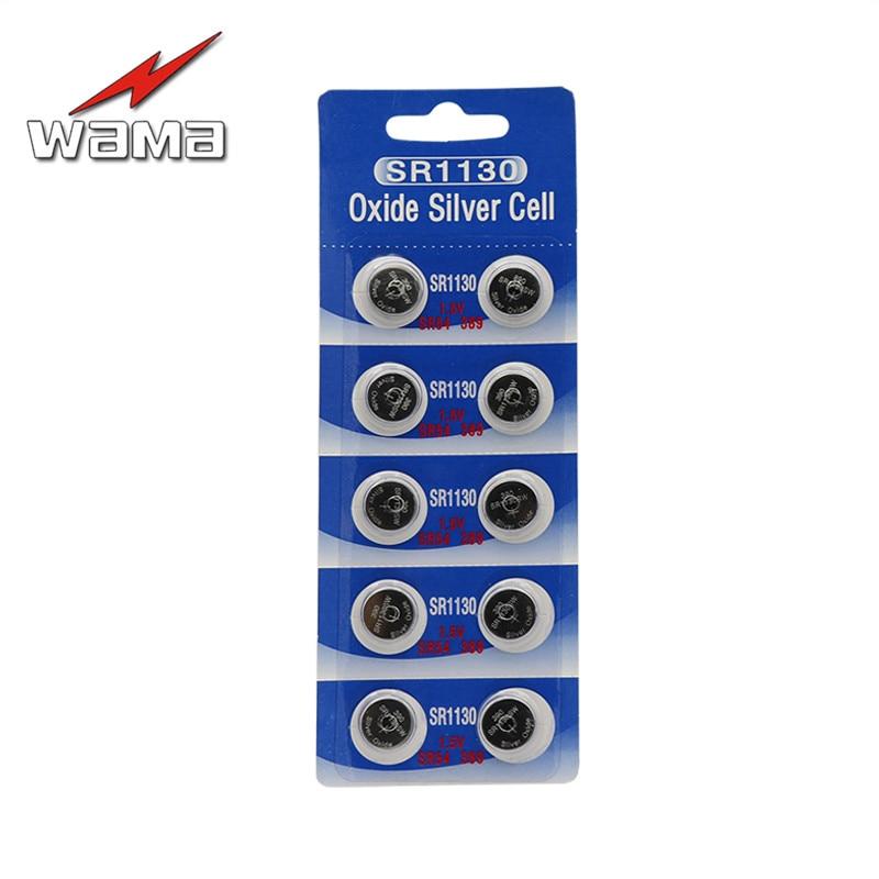 10pcs/pack SR1130SW Button Cell Batteries SR1130 SR54 389 1.55V Silver Oxide