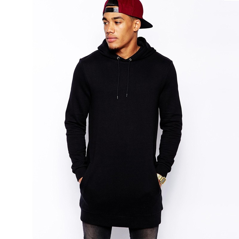 Long Black Hoodie Men | Fashion Ql